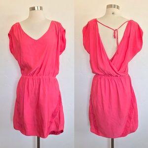 Express Hot Pink Silky Open Back Mini Dress Medium
